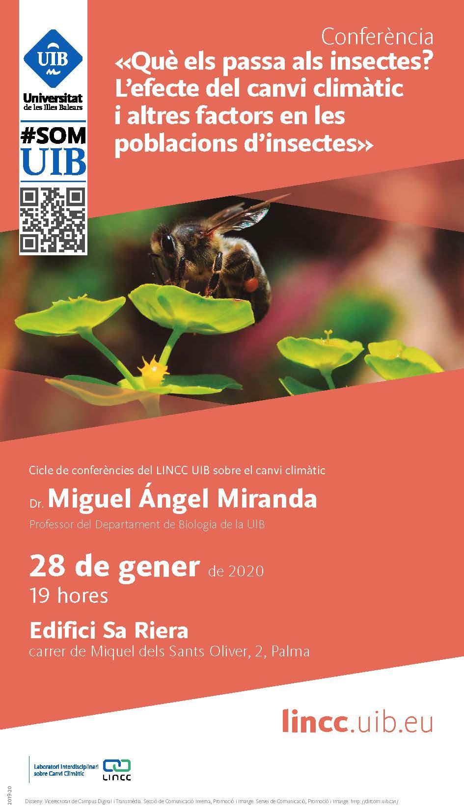 Conferencia «¿Qué está pasando con los insectos? El efecto del cambio climático y otros factores en las poblaciones de insectos», a cargo del Dr. Miguel Ángel Miranda