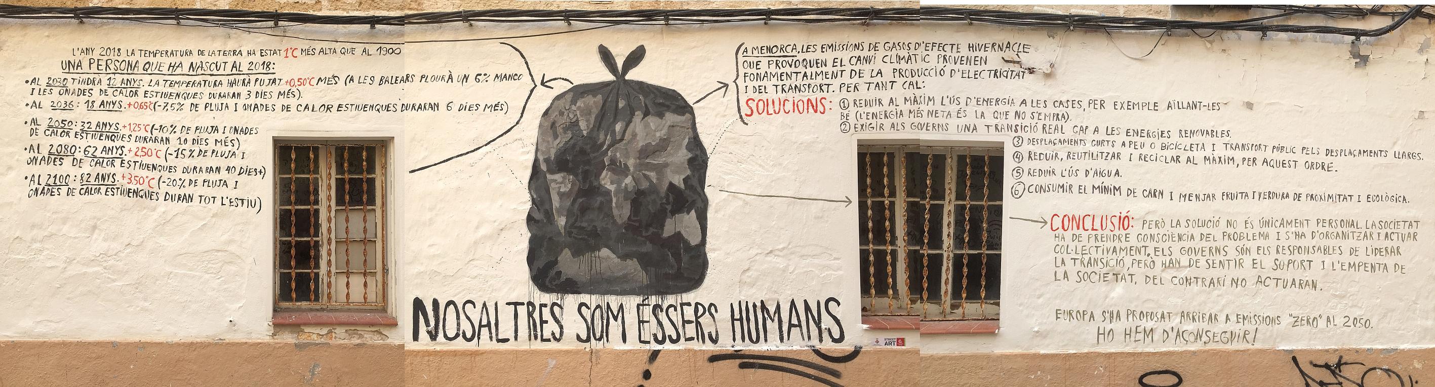 El artista Cristòfol Pons pinta un mural sobre el cambio climático en la octava edición del Festival Street Art de Ciutadella