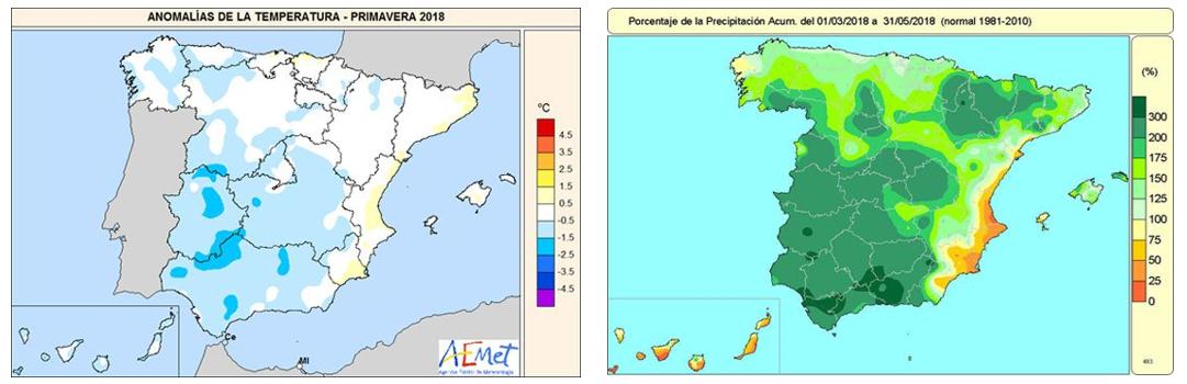 Figura 3. Primavera 2018. Anomalies de temperatura mitjana (en graus; esquerra) i % de la precipitació respecte de la normal (dreta) (Publicat per AEMET, com a part d'un tuit: https://twitter.com/AEMET_Esp/status/1009758703661314048)